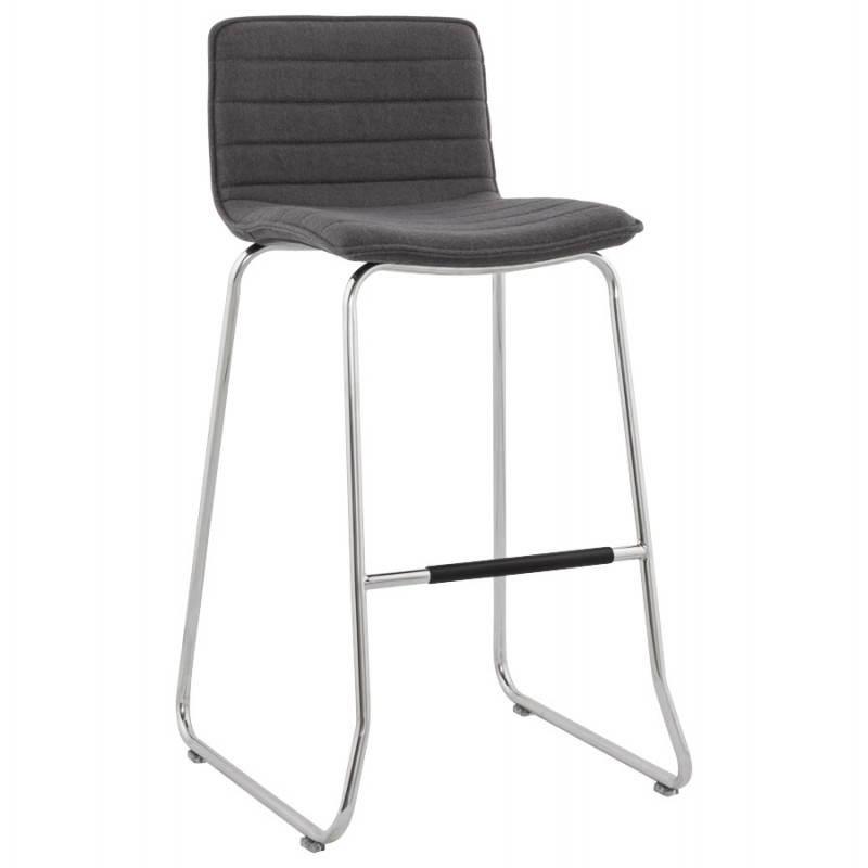 tabouret de bar matelass anais tissu et m tal chrom gris fonc. Black Bedroom Furniture Sets. Home Design Ideas