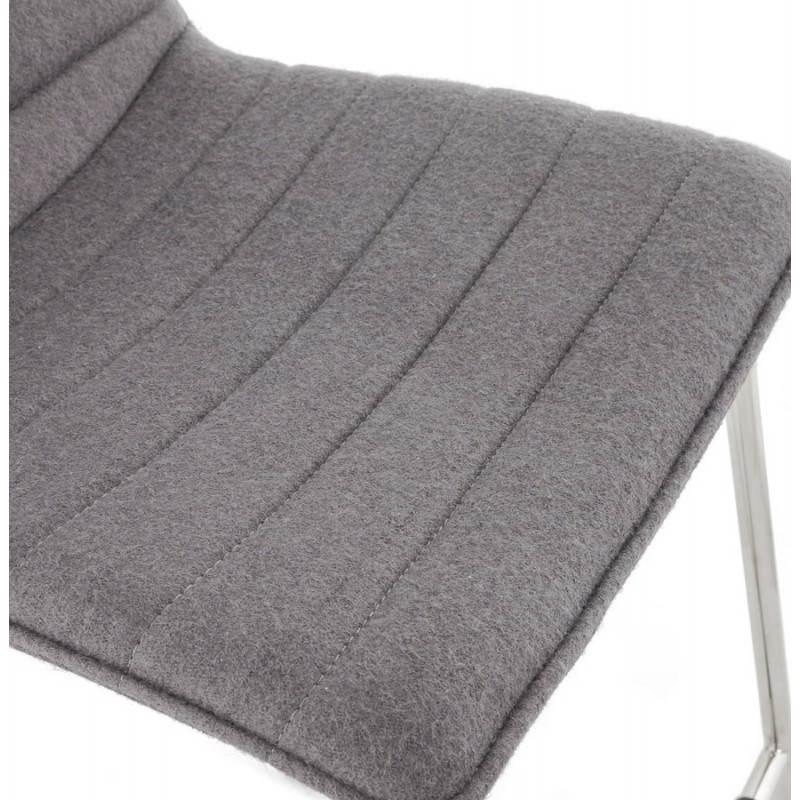 Tabouret de bar matelassé ANAIS tissu et métal chromé (gris foncé) - image 20772