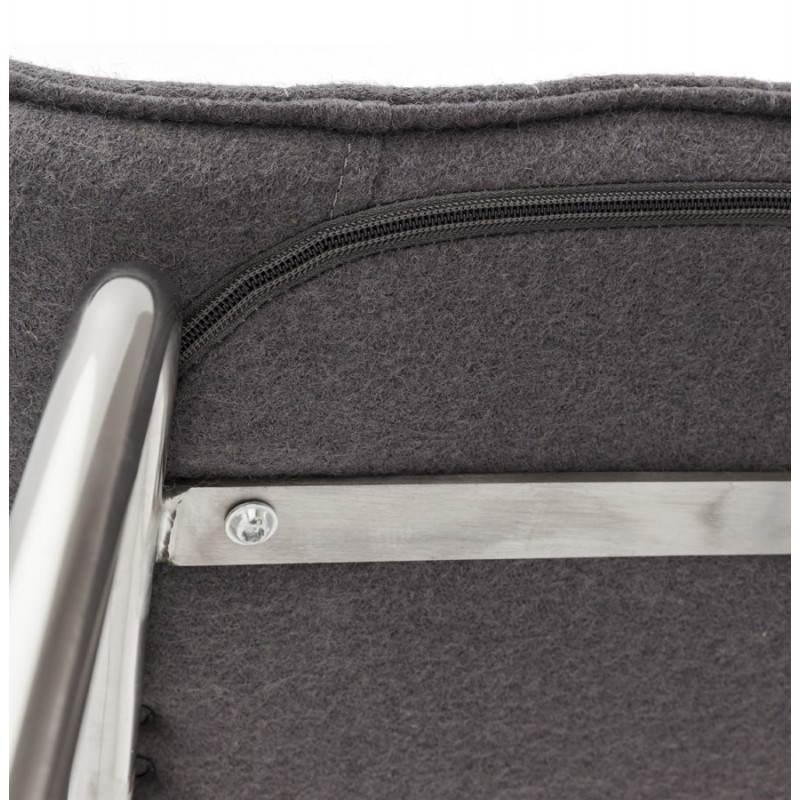 Tabouret de bar matelassé ANAIS tissu et métal chromé (gris foncé) - image 20778