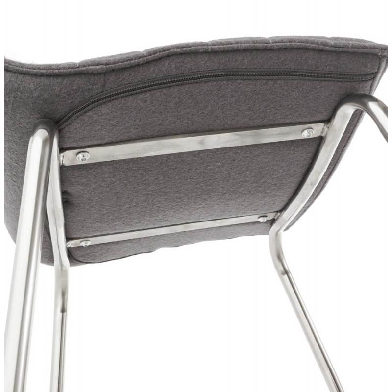 Tabouret de bar matelassé ANAIS tissu et métal chromé (gris foncé) - image 20780