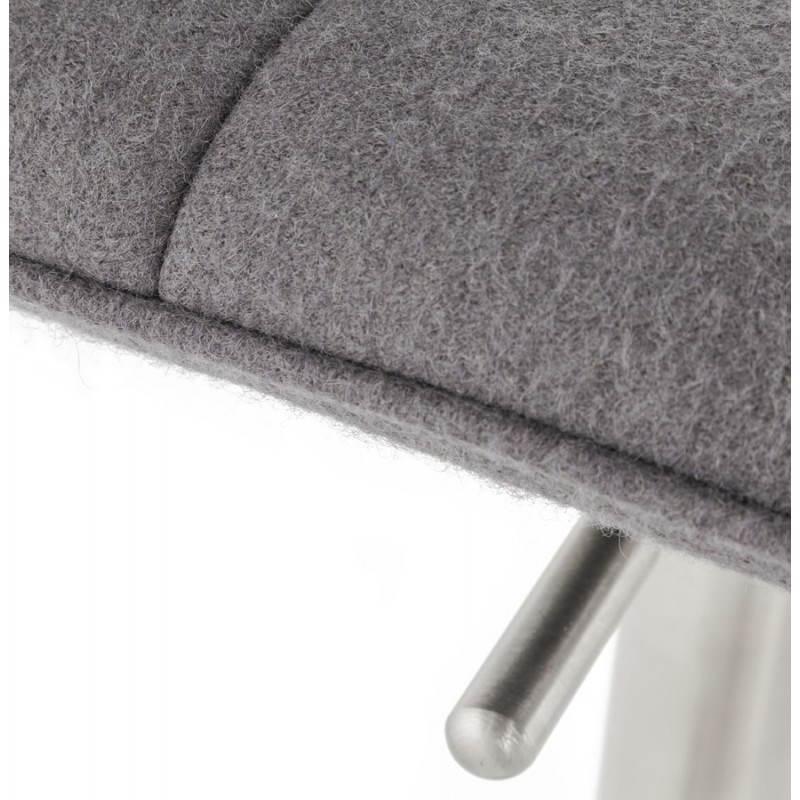 Tabouret de bar design MARGO en tissu et métal brossé (gris foncé) - image 20932