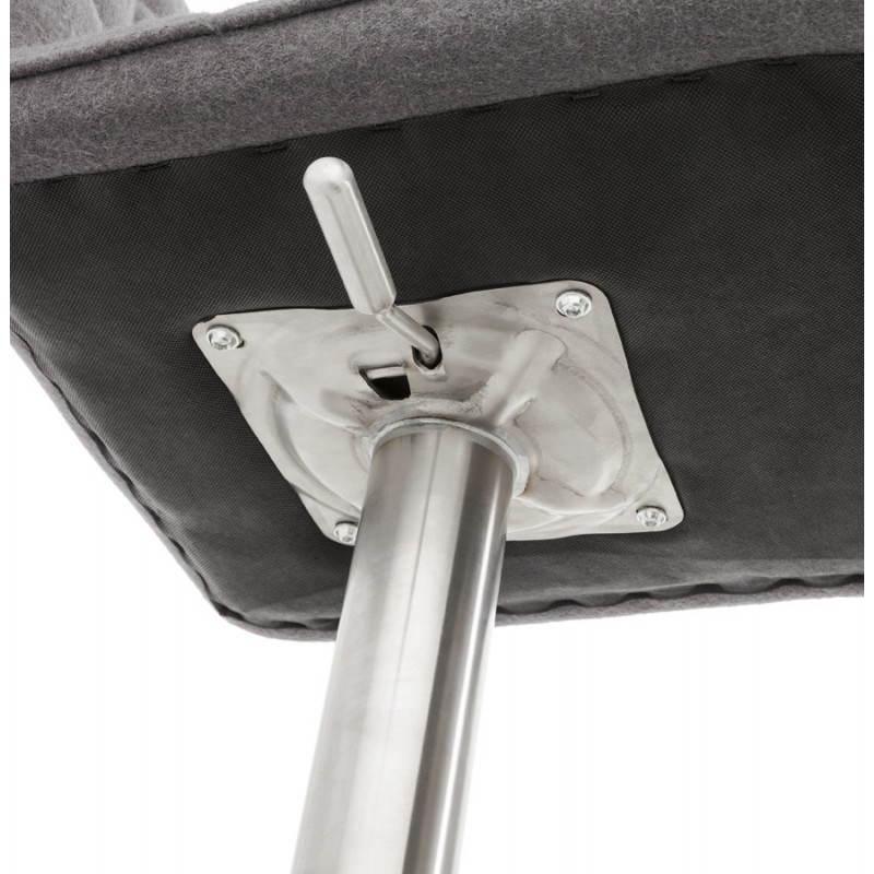 Tabouret de bar design MARGO en tissu et métal brossé (gris foncé) - image 20934