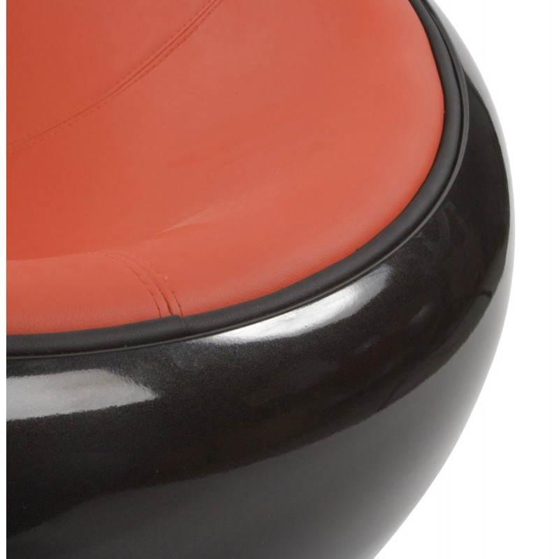 Fauteuil BOULE look trendy-chic pivotant à pieds ajustables (noir rouge) - image 20956