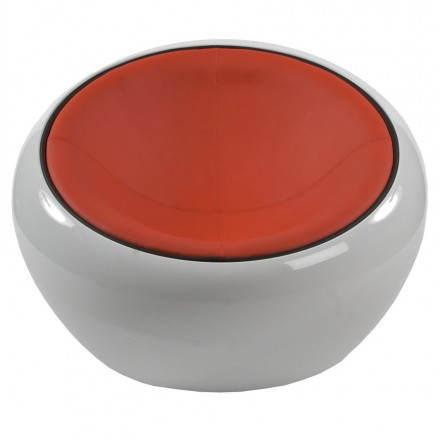 BOULE Sillón moderno de corte minimalista giratorias pies ajustables (rojo blanco)