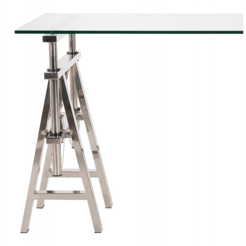 Office design on tempered glass and stainless steel adjustable feet MALDIVES (transparent) - image 20985