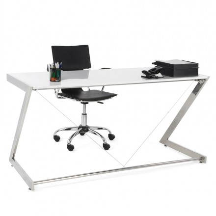 Office design Greece in lacquered wood and chrome metal (white)