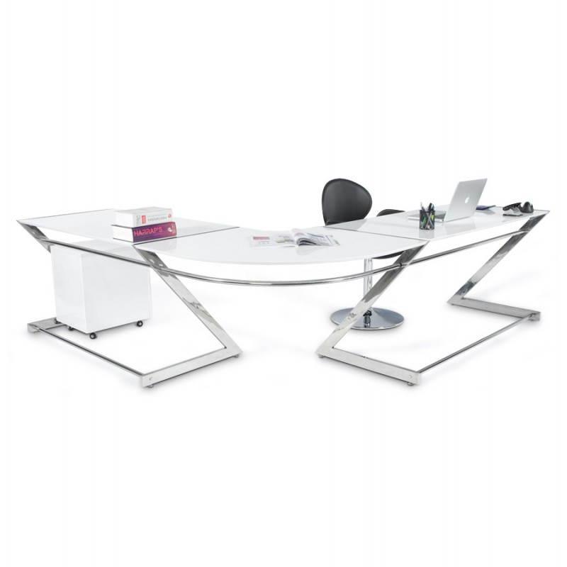 Bureau d'angle design TUTTI en bois laqué et métal chromé (blanc) - image 21002