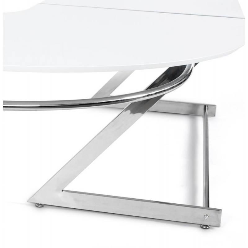 Bureau d'angle design TUTTI en bois laqué et métal chromé (blanc) - image 21004