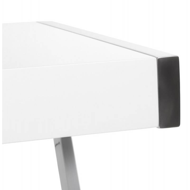 Design corner tutti in lacquered wood and chrome metal white - Bureau d angle laque blanc ...