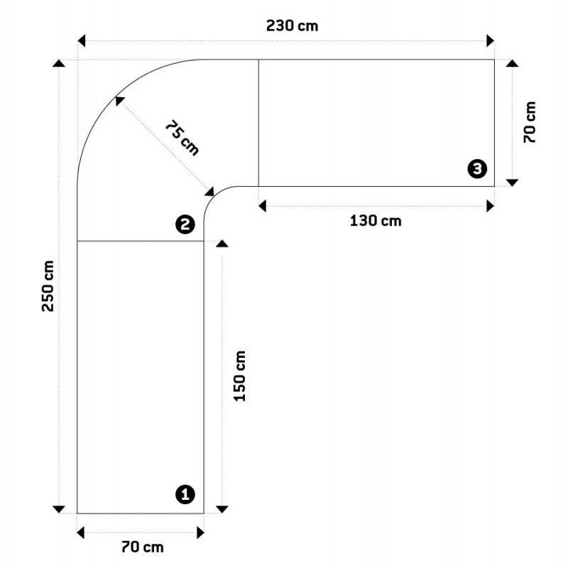 Bureau d'angle design TUTTI en bois laqué et métal chromé (blanc) - image 21010