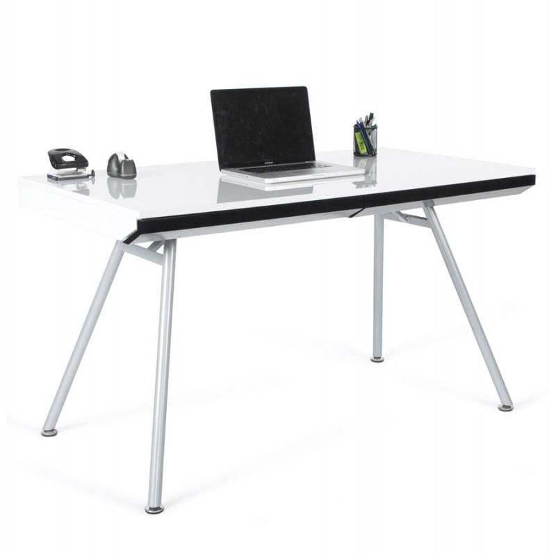 Bureau design PALAOS en bois laqué et métal peint (blanc)