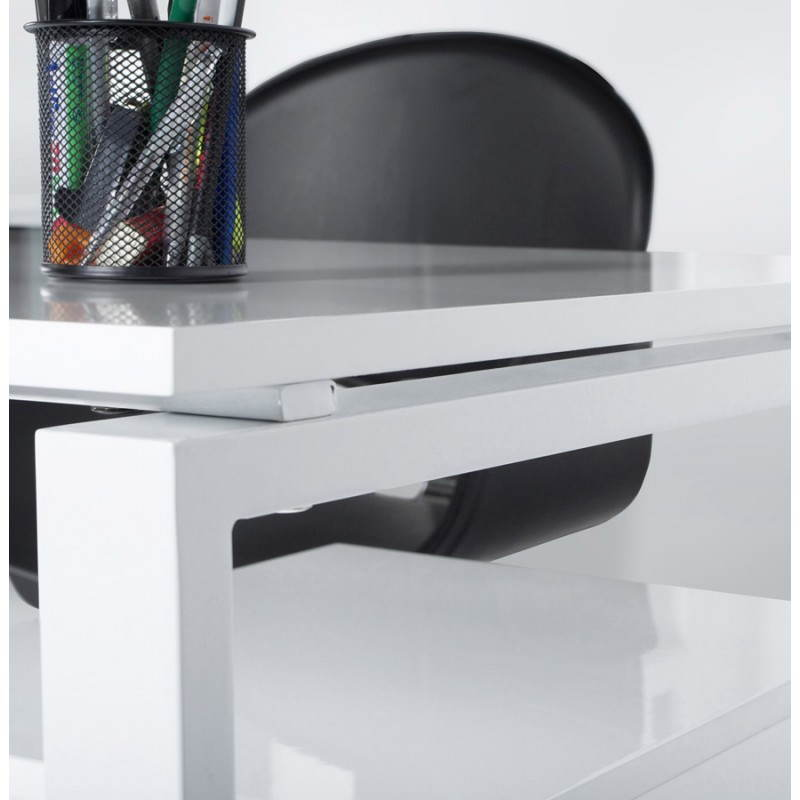 Bureau d'angle design FIDJI en bois laqué et métal peint (blanc) - image 21034