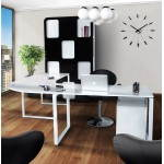 Bureau d'angle design FIDJI en bois laqué et métal peint (blanc)