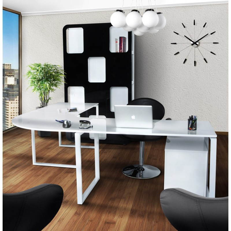 Bureau d'angle design FIDJI en bois laqué et métal peint (blanc) - image 21037