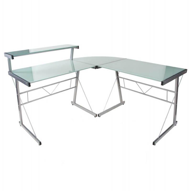 Bureau d'angle design CHILI en acier et verre sécurit teinté (blanc) - image 21039