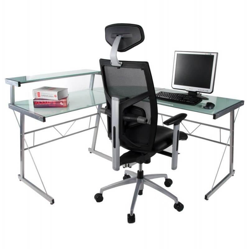 Bureau d'angle design CHILI en acier et verre sécurit teinté (blanc) - image 21049