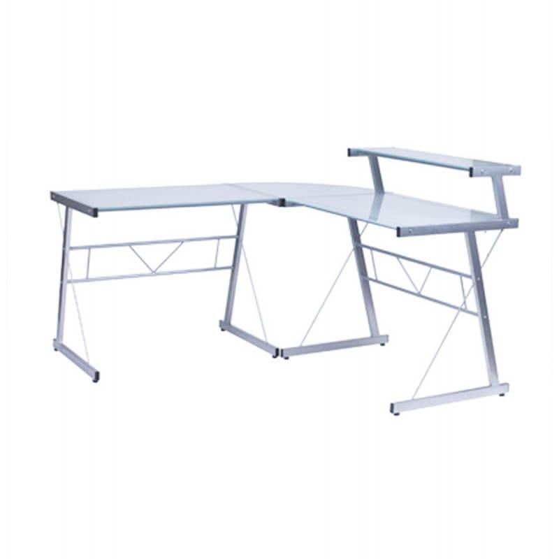 Bureau d'angle design CHILI en acier et verre sécurit teinté (transparent sablé) - image 21051