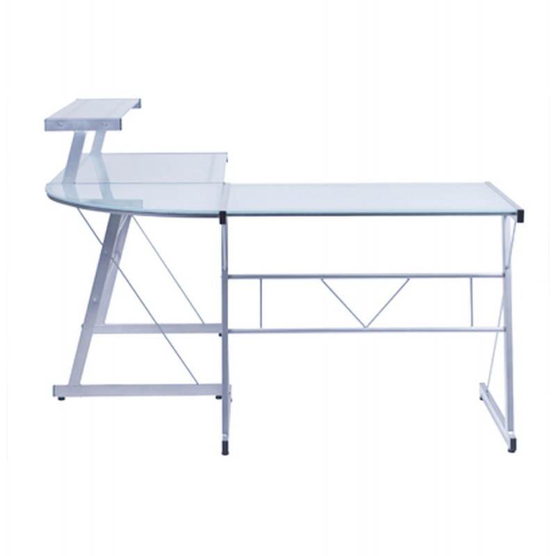 Bureau d'angle design CHILI en acier et verre sécurit teinté (transparent sablé) - image 21052