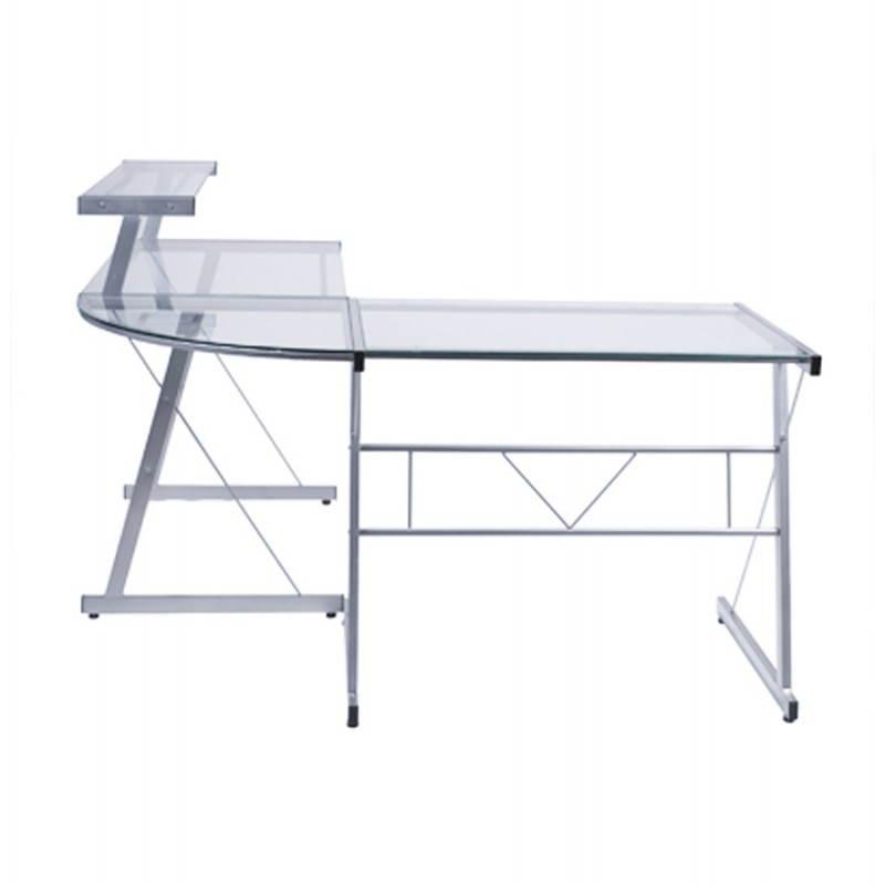 Bureau d'angle design CHILI en acier et verre sécurit teinté (transparent) - image 21061