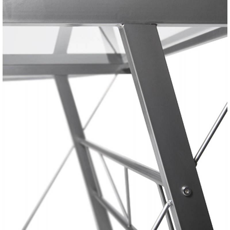 Bureau d'angle design CHILI en acier et verre sécurit teinté (transparent) - image 21065