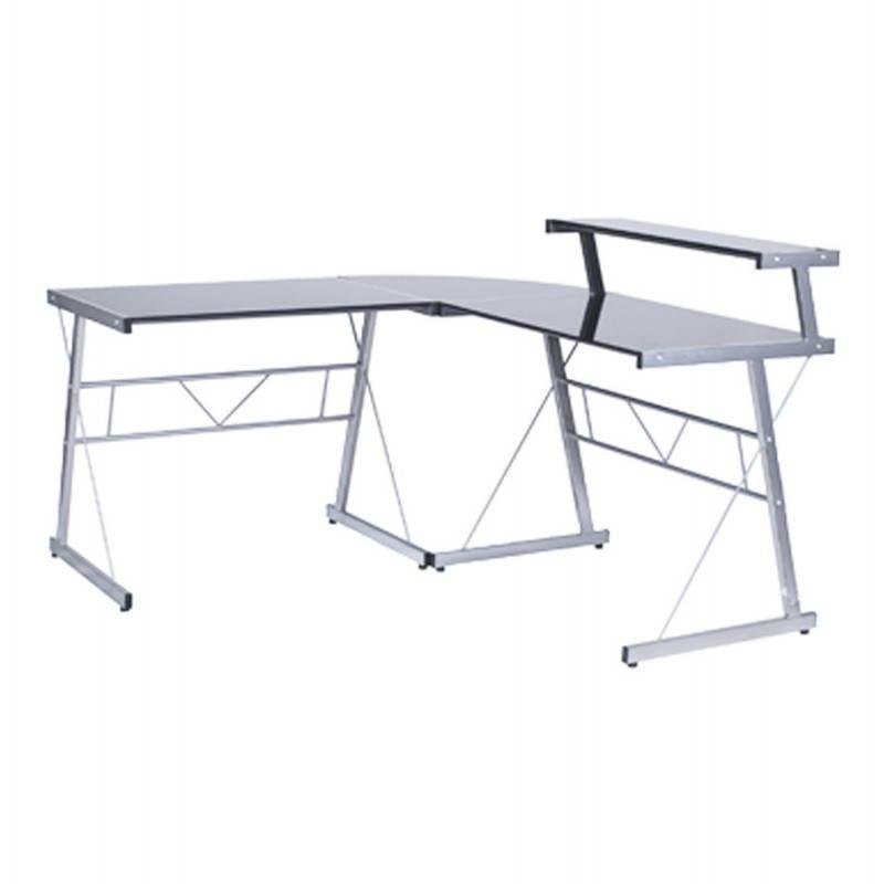 Bureau d'angle design CHILI en acier et verre sécurit teinté (noir) - image 21071