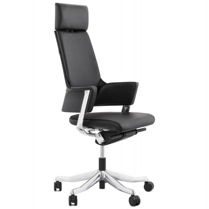 Ergonomic design office CUBA (black) leather armchair - image 21080