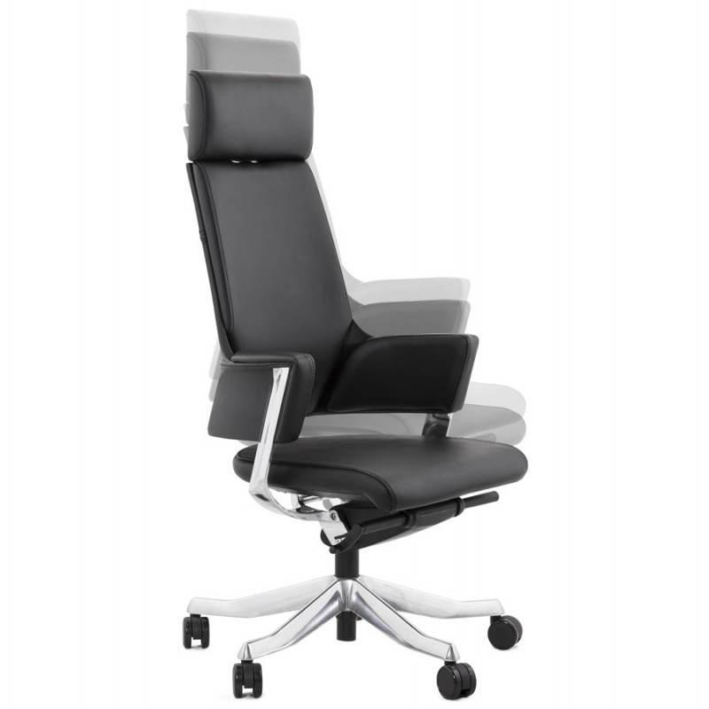 Fauteuil de bureau design ergonomique CUBA en cuir (noir) - image 21085