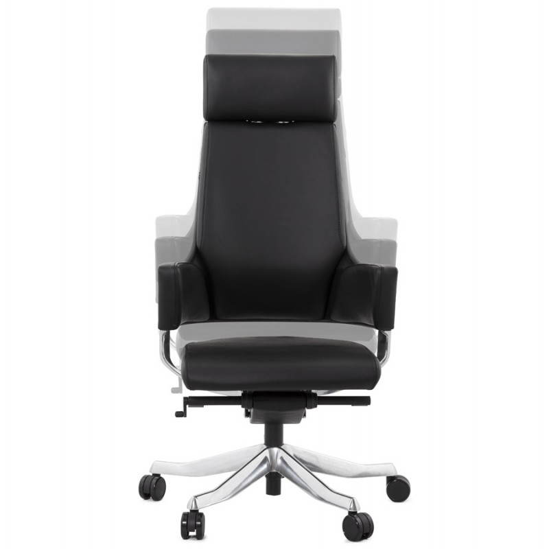 Ergonomic design office CUBA (black) leather armchair - image 21086