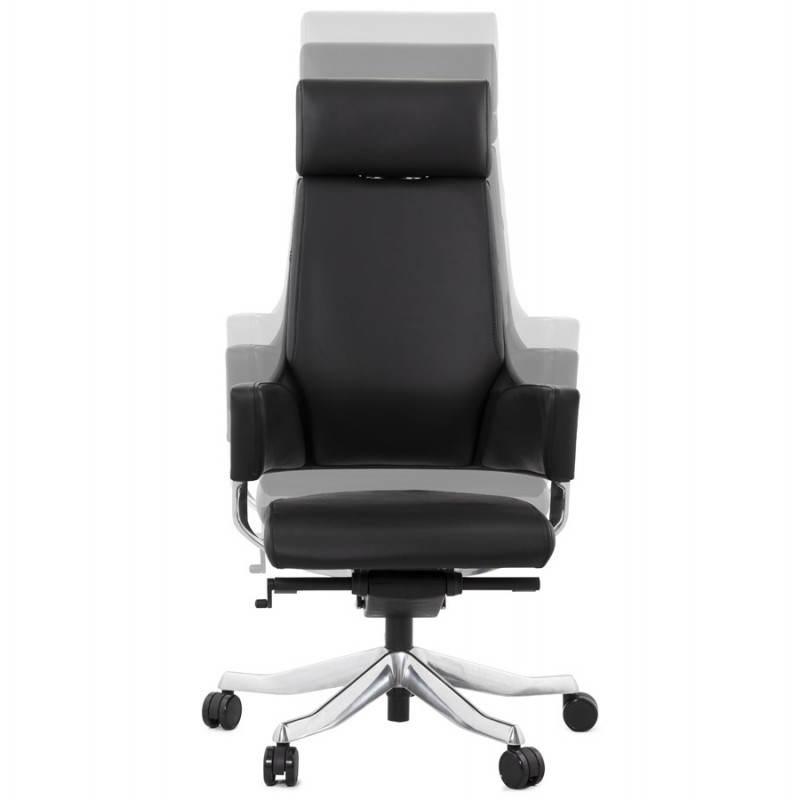 Fauteuil de bureau design ergonomique CUBA en cuir (noir) - image 21086