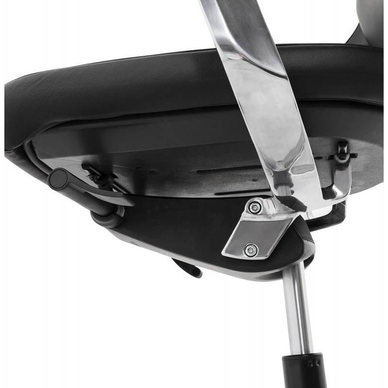 Fauteuil de bureau design ergonomique CUBA en cuir (noir) - image 21098