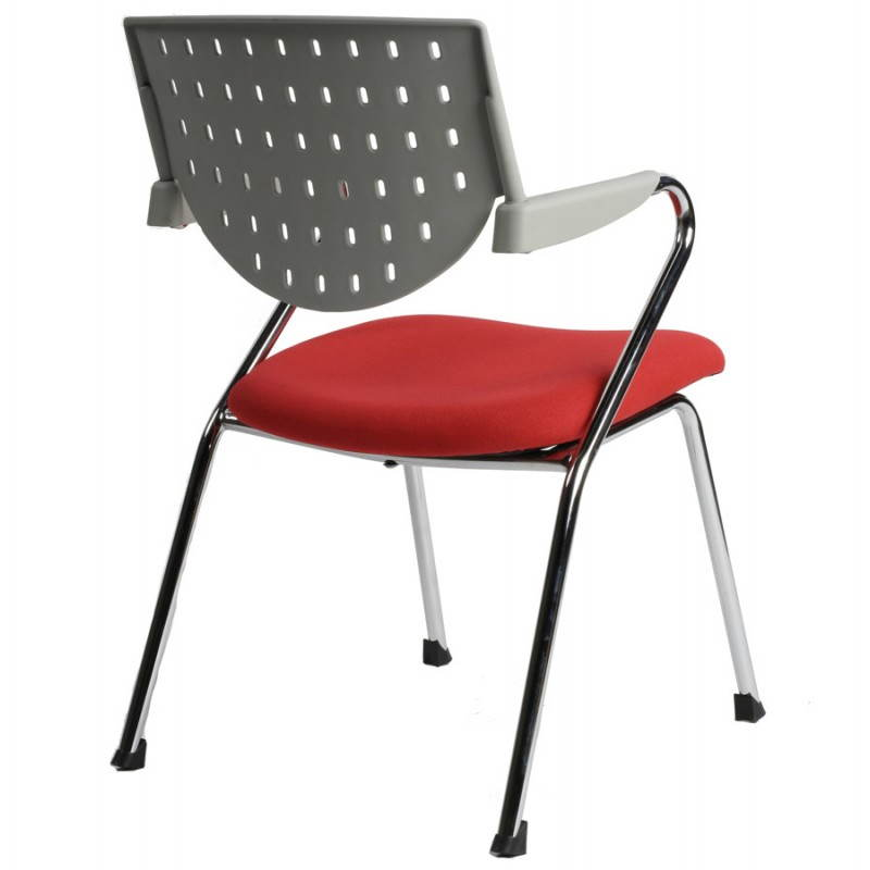 Chaise de bureau design BERMUDES en tissu (rouge et gris) - image 21148