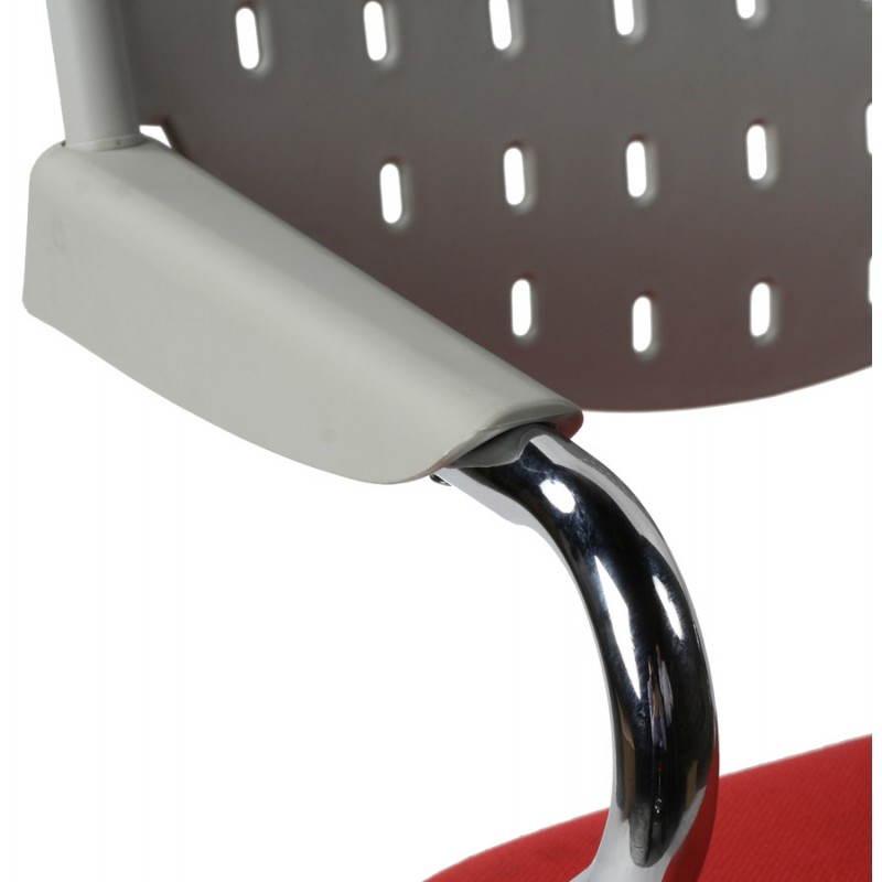 Chaise de bureau design BERMUDES en tissu (rouge et gris) - image 21149