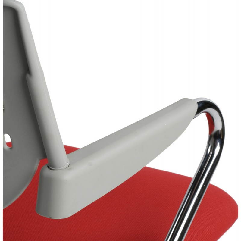 Chaise de bureau design BERMUDES en tissu (rouge et gris) - image 21150