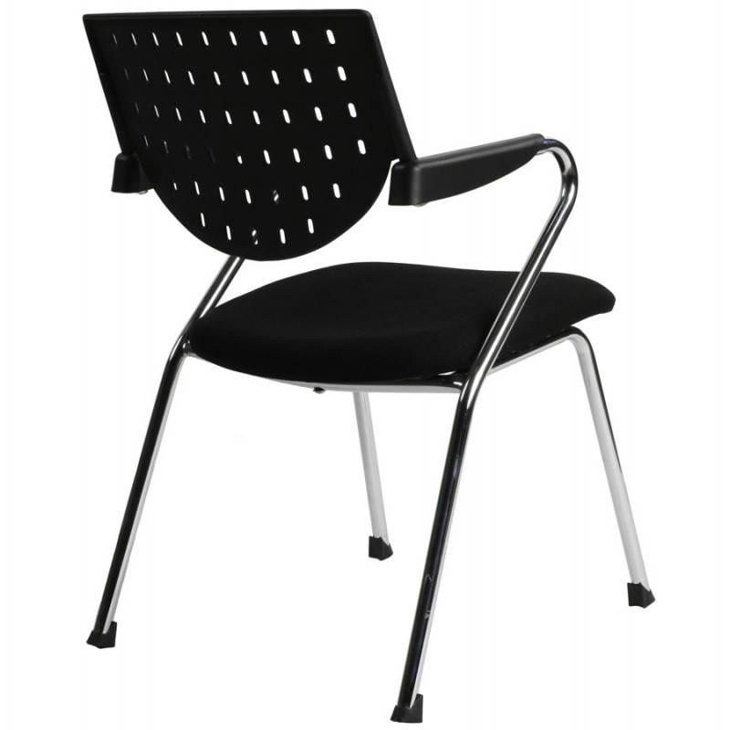 Chaise de bureau design BERMUDES en tissu (noir) - image 21154