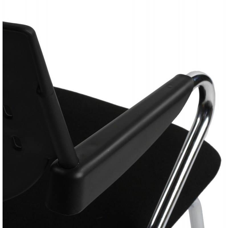 Chaise de bureau design BERMUDES en tissu (noir) - image 21156