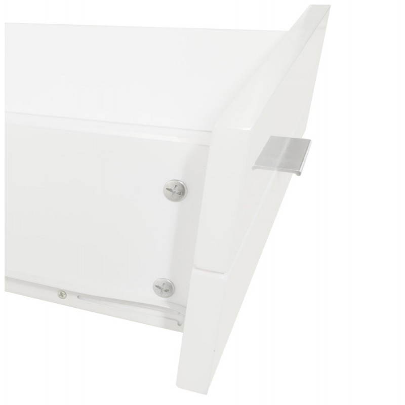 Meuble tv porquerolles en bois laqu blanc for Acheter maison porquerolles