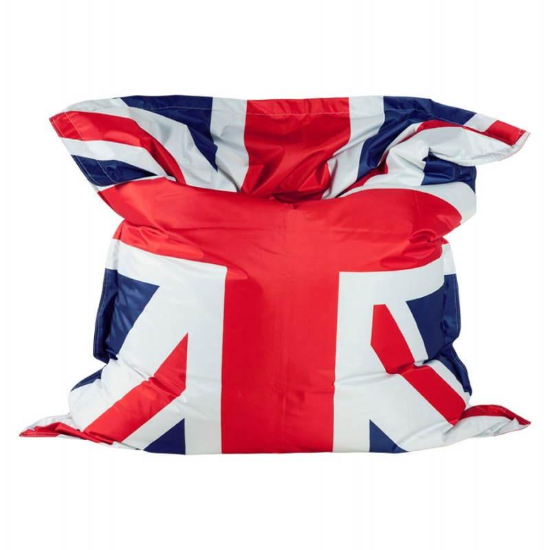 Pouf rectangulaire géant MILLOT UK en textile (bleu, blanc et rouge) - image 21202
