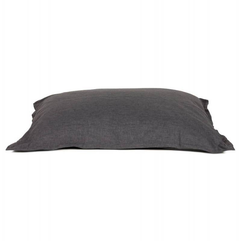 Pouf rectangulaire SALIN en textile (gris foncé) - image 21213