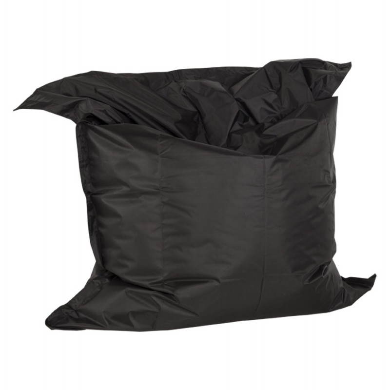 Pouf rectangulaire JANOT en textile (noir)
