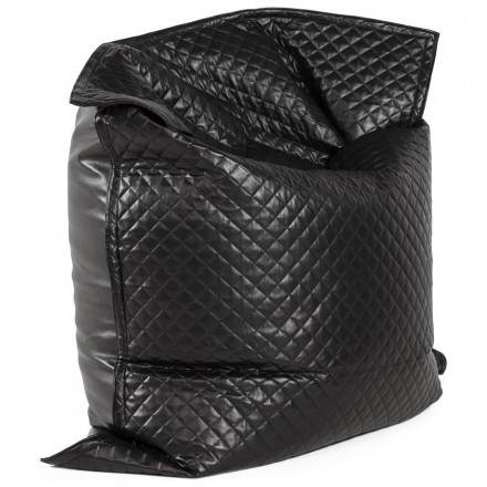 Puff rectangular LILIAN textile polyurethane (black)