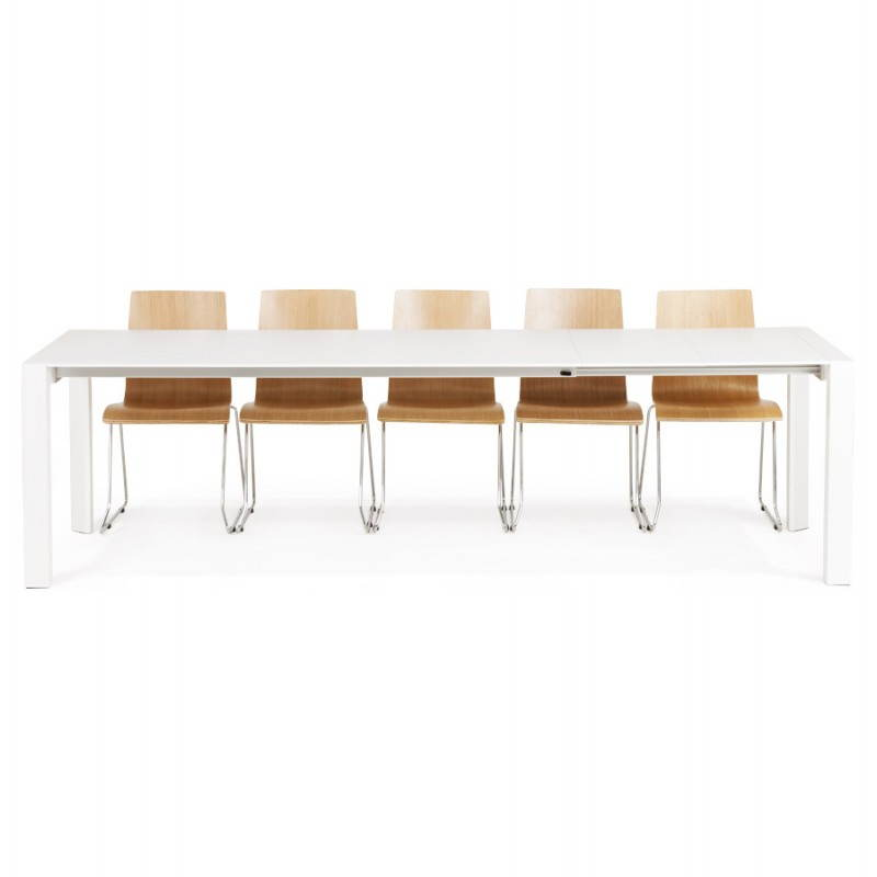 Table design avec 2 rallonges macy en bois peint 190 for Table design avec rallonge