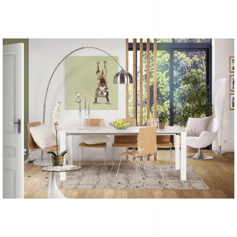 Design table with 2 extensions MACY (white) painted wood - image 21310