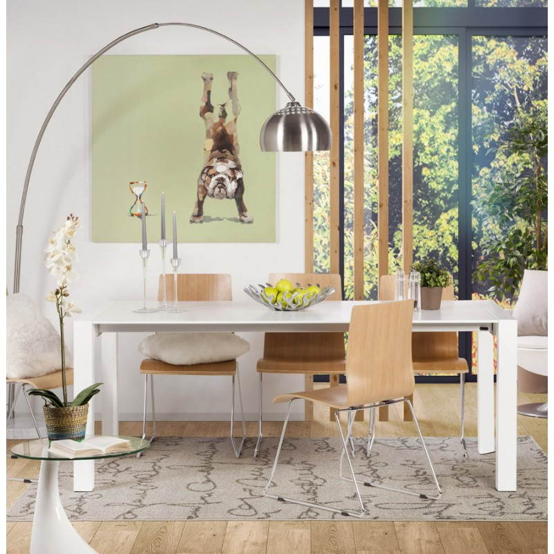 Design table with 2 extensions MACY (white) painted wood - image 21311