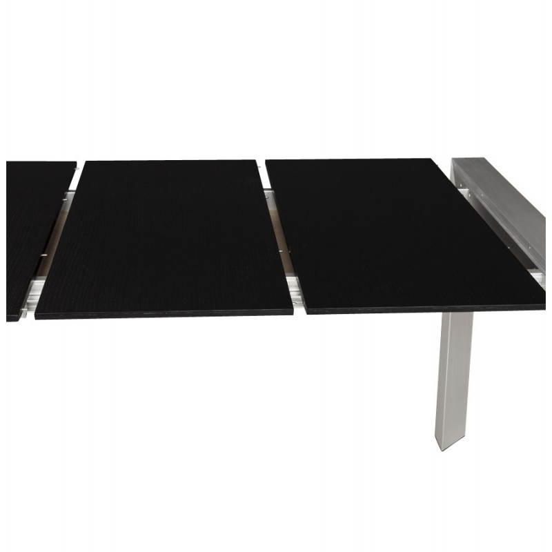 Table design avec 2 rallonges macy en bois peint 190 - Table noire avec rallonge ...