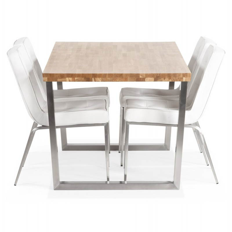 Table moderne rectangulaire PANOU en chêne massif (bois naturel) - image 21347