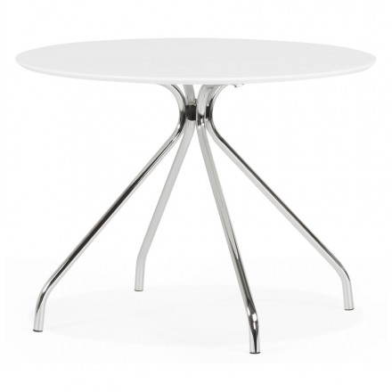 Modern round table Kitty in painted wood and metal (Ø 100 cm) (white)