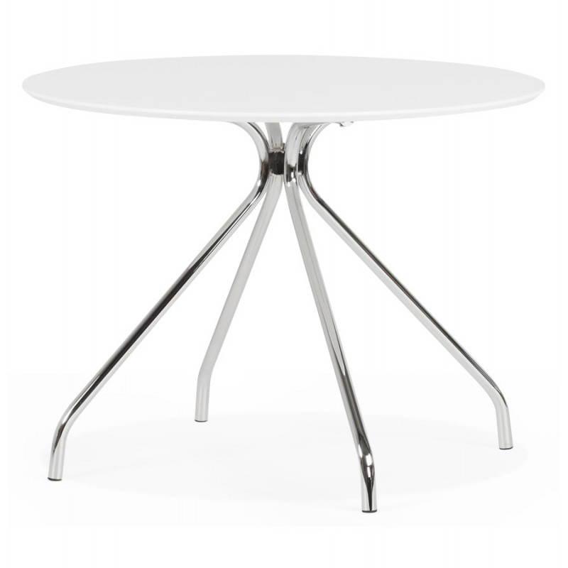 Table moderne ronde MINOU en bois peint et métal (Ø 100 cm) (blanc) - image 21376