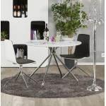 Table moderne ronde MINOU en bois peint et métal (Ø 100 cm) (blanc)