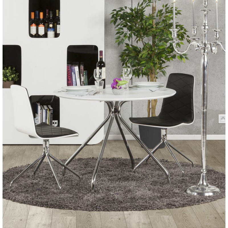 Table moderne ronde MINOU en bois peint et métal (Ø 100 cm) (blanc) - image 21392