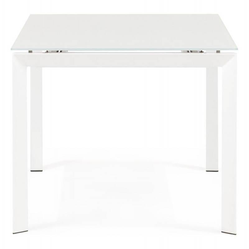 Table design rectangulaire avec rallonge JEANNE en verre et métal (160/230cmX90cmX75cm) (blanc) - image 21395